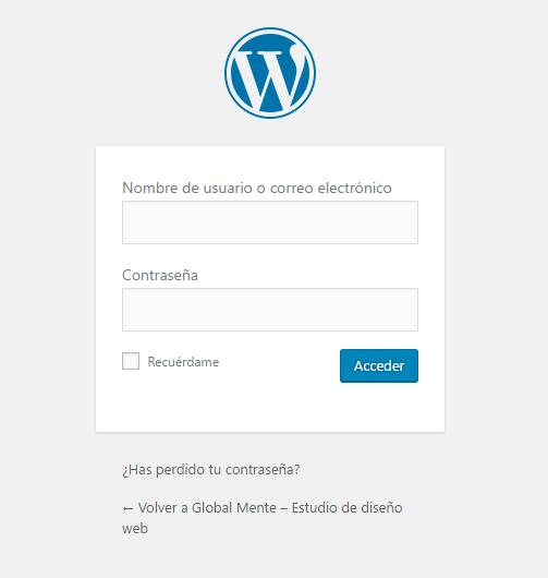Acceder a la administración de tu WordPress