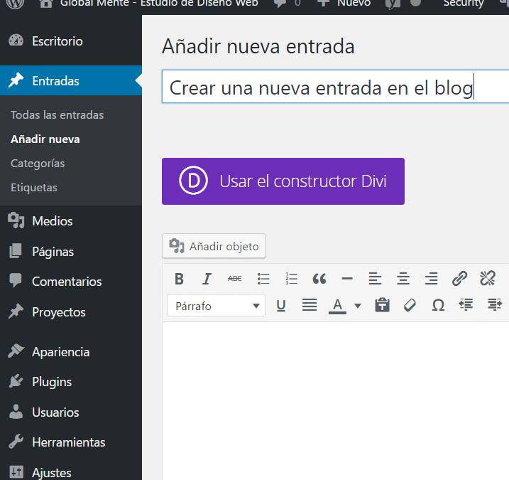 Crear una nueva entrada en el blog