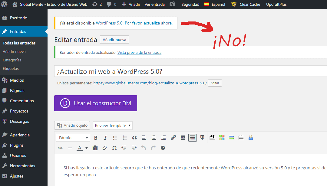 ¿Actualizo mi web a WordPress 5.0?