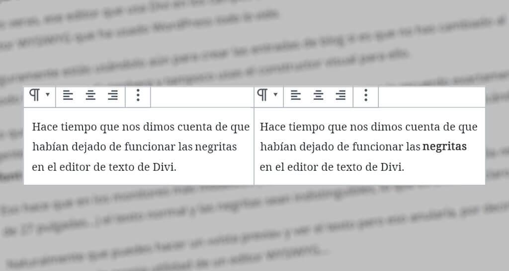 ¿No ves las negritas en el editor de texto de Divi?