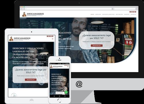 Modelo de representación responsive de la web de Infocamareros.com
