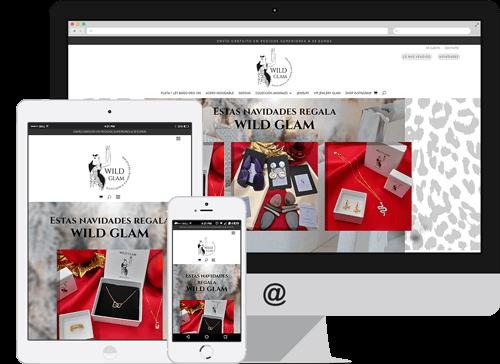 Modelo de diseño responsive de la tienda Arte y Joyas Wild Glam